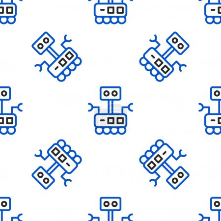 Photo for Line Robot icon isolated seamless pattern on white background. Artificial intelligence, machine learning, cloud computing. Colorful outline concept. Vector. - Royalty Free Image