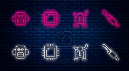 Photo for Set line Processor with CPU, Viking in horned helmet, School backpack and Audio jack. Glowing neon icon on brick wall. Vector. - Royalty Free Image