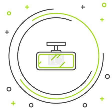 Illustration pour Ligne Icône miroir de voiture isolé sur fond blanc. Concept de contour coloré. Vecteur. - image libre de droit