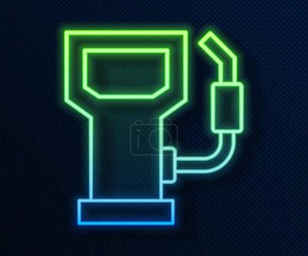 Illustration pour Ligne lumineuse néon Icône de station essence ou essence isolée sur fond bleu. Symbole carburant voiture. Pompe à essence. Vecteur. - image libre de droit