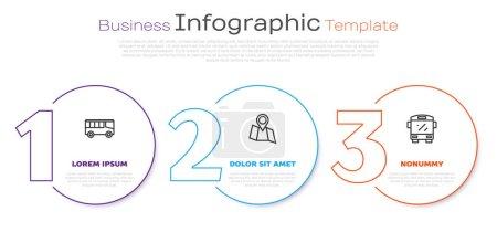 Illustration pour Set line Bus, Folded map with location and . Business infographic template. Vector. - image libre de droit