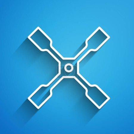 Illustration pour Ligne blanche Icône clé à molette isolée sur fond bleu. Attelle de roue. Longue ombre. Vecteur. - image libre de droit