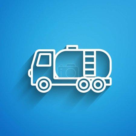 Illustration pour Icône de camion citerne ligne blanche isolé sur fond bleu. Pétrolier, camion essence, citerne, remorque pétrolière. Longue ombre. Vecteur. - image libre de droit