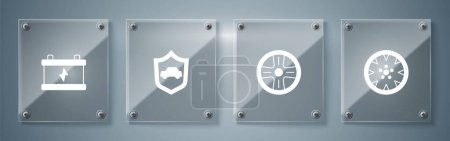 Illustration pour Set roue en alliage,, Voiture avec bouclier et batterie. Panneaux carrés en verre. Vecteur. - image libre de droit