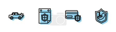 Illustration pour Définir la ligne Carte de crédit avec écran, voiture, calendrier et icône de l'assurance-vie. Vecteur. - image libre de droit