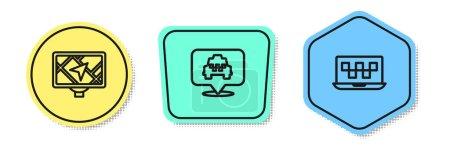 Illustration pour Définir l'appareil GPS ligne avec carte, Emplacement taxi et service d'appel d'ordinateur portable. Formes colorées. Vecteur. - image libre de droit