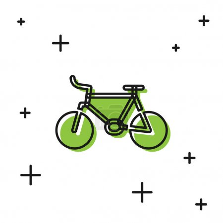 Illustration for Black Bicycle icon isolated on white background. Bike race. Extreme sport. Sport equipment. Vector. - Royalty Free Image