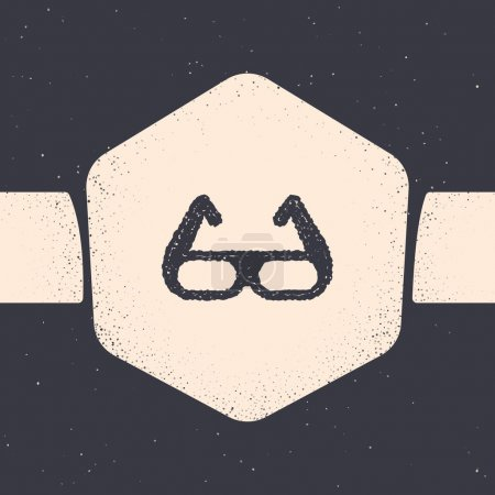 Illustration for Grunge Sport cycling sunglasses icon isolated on grey background. Sport glasses icon. Monochrome vintage drawing. Vector. - Royalty Free Image