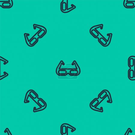Illustration for Blue line Sport cycling sunglasses icon isolated seamless pattern on green background. Sport glasses icon. Vector. - Royalty Free Image