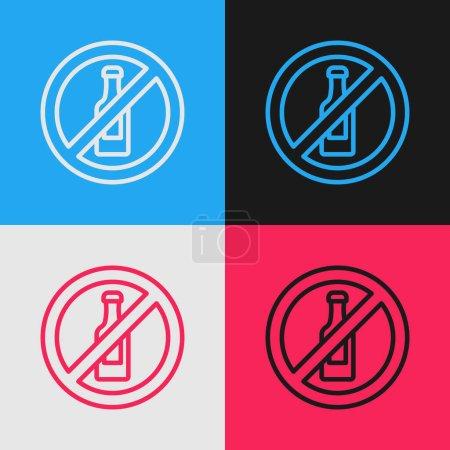 Illustration pour Pop art line Aucune icône d'alcool isolée sur fond de couleur. Interdiction des boissons alcoolisées. Symbole interdit avec bouteille de bière en verre. Vecteur. - image libre de droit