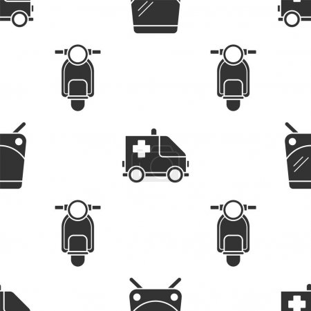 Illustration for Set Tram and railway, Ambulance and emergency car and Scooter on seamless pattern. Vector. - Royalty Free Image