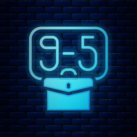 Illustration pour Fluo lumineux De 9 : 00 à 5 : 00 icône de travail isolé sur fond de mur de briques. Concept signifiant horaire de travail routine quotidienne classique emploi traditionnel. Vecteur. - image libre de droit