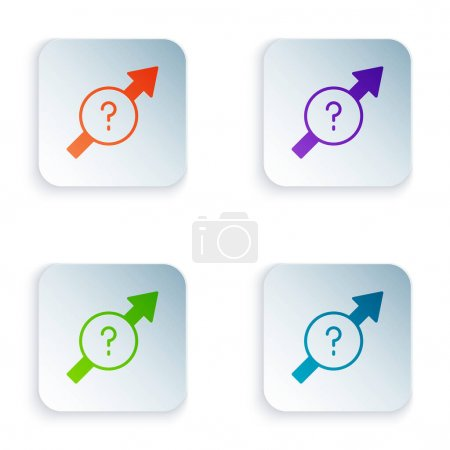 Illustration pour Icône Flèche de couleur isolée sur fond blanc. Direction Arrowhead symbole. Panneau indicateur de navigation. Définir des icônes colorées dans des boutons carrés. Vecteur. - image libre de droit