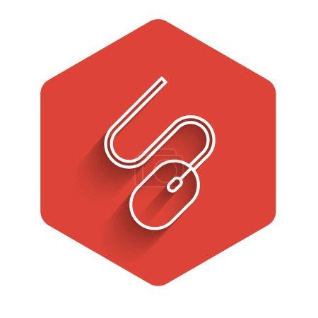 Illustration pour Ligne blanche Icône de souris d'ordinateur isolé avec un fond d'ombre longue. Optique avec symbole de roue. Bouton hexagonal rouge. Vecteur. - image libre de droit