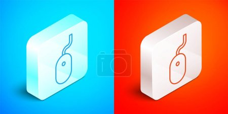 Illustration pour Ligne isométrique Icône de souris d'ordinateur isolé sur fond bleu et rouge. Optique avec symbole de roue. Bouton carré argenté. Vecteur. - image libre de droit