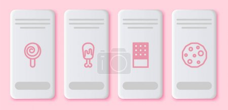 Illustration for Set line Lollipop, Chicken leg, Chocolate bar and Cookie or biscuit. White rectangle button. Vector - Royalty Free Image