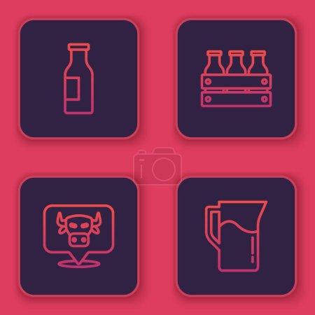 Illustration pour Set line Bottle with milk, Cow head, Bottled in wooden box and Milk jug or pitcher. Blue square button. Vector - image libre de droit
