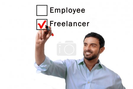 Photo for Young handsome business man choosing freelancer to employee option at work formular ticking box with red marker on glass isolated on white background in self-employed versus company salary and freelance working concept - Royalty Free Image