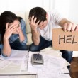 Young couple worried need help in stress at home c...