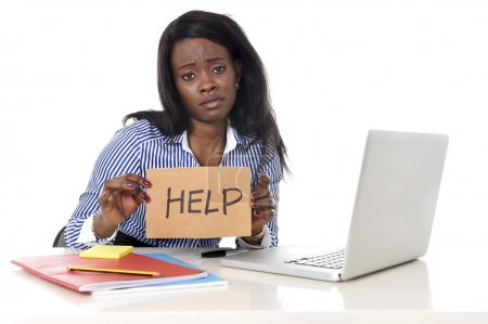 black African American ethnicity woman in work stress at asking for help