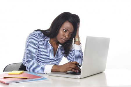 black African American ethnicity worried woman working in stress at office