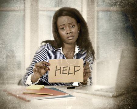 black African American ethnicity tired frustrated woman working in stress asking for help