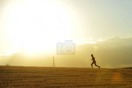 Profile silhouette of young man running in countryside training cross country jogging discipline in summer sunset on beautiful rural landscape