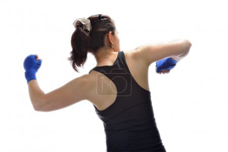 A woman exercises