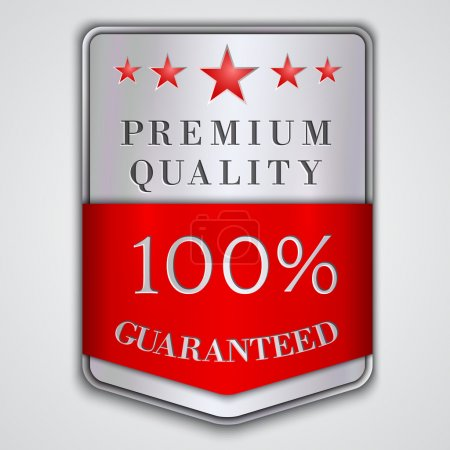 Vector  silver badge label with premium quality and hundred percent  guaranteed  text