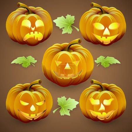 Vector set of  orange halloween pumpkins and leaves
