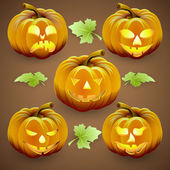 Vector set of  orange halloween pumpkins with lights and green leaves