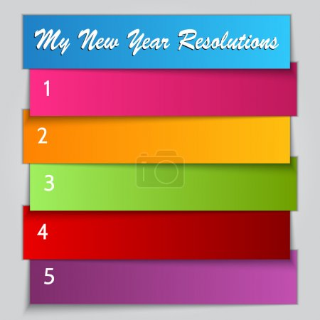 Illustration for Vector New Year Resolution multi color List template - Royalty Free Image