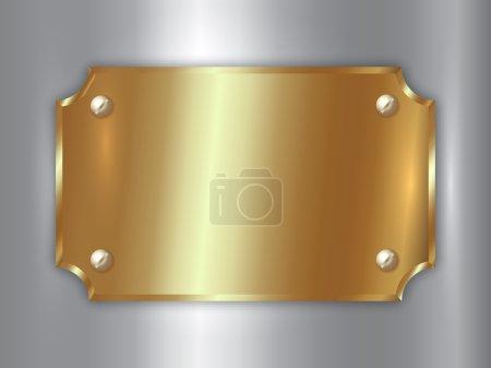 Illustration pour Plaque vectorielle abstraite en or précieux avec vis, coins incurvés et place pour texte sur fond argenté - image libre de droit