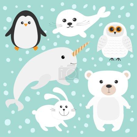 Arctic polar animals set