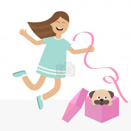 Illustration for Girl jumping for joy. Gift box with puppy pug dog - Royalty Free Image