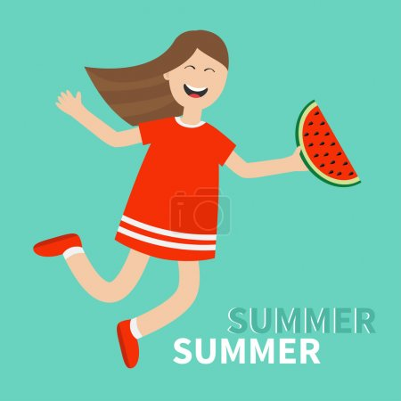 Illustration for Girl jumping Happy child jump. Hello summer greeting card. Cute cartoon laughing character in red dress holding watermelon slice. Smiling woman. Blue background. Flat design Vector illustration - Royalty Free Image