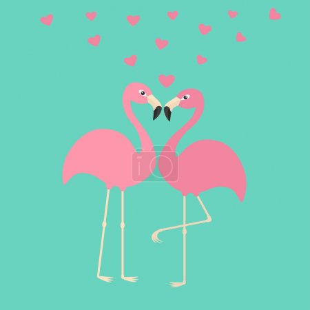 Two pink flamingos couple