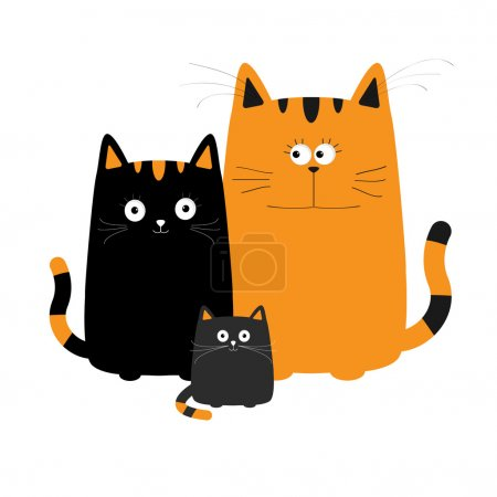 Illustration for Cute cartoon cats family. Mother, father and baby boy kitten. Big mustache whisker. Funny characters set. Happy family. Love greeting card. Flat design. White background. Isolated. Vector illustration - Royalty Free Image