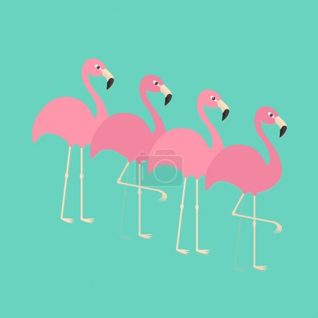 Pink flamingos set