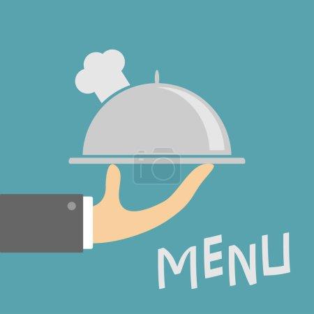 Illustration pour Serveur main tenant cloche plateau d'argent avec chapeau de chefs. Carte de menu. Restaurant en métal cloche alimentaire. Fond bleu. Design plat. Illustration vectorielle - image libre de droit