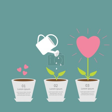 Illustration for Heart seed, watering can, love plant. Growth concept.  Flat design infographic illustration - Royalty Free Image