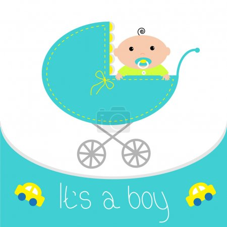 Baby blue carriage. It's a boy.
