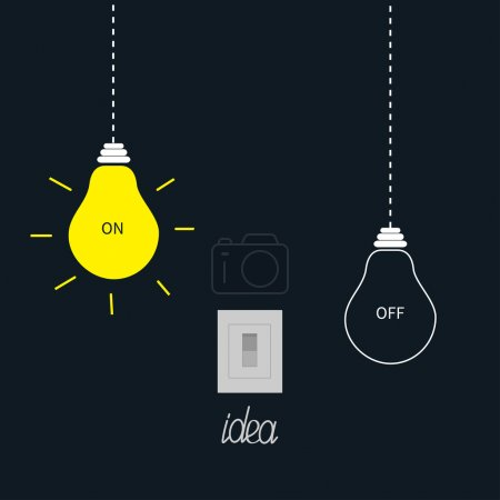 Hanging on and off light bulbs with tumbler switch. Idea concept