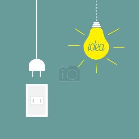 Illustration for Hanging yellow light bulb, rosette, cord plug. Idea concept. Flat design Vector illustration. - Royalty Free Image