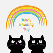 Happy Friendship Day with Rainbow and cartoon cats