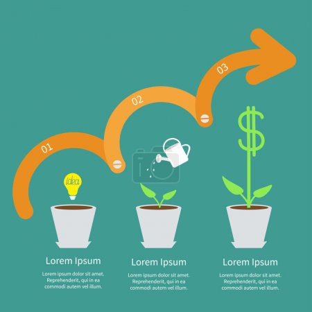 Illustration for Timeline Infographic Idea bulb seed, watering can, dollar plant pot - Royalty Free Image