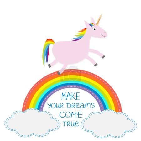 Rainbow, unicorn and clouds. calligraphic inspiration