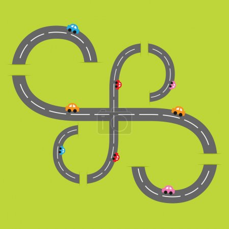 two roads  and cartoon cars.