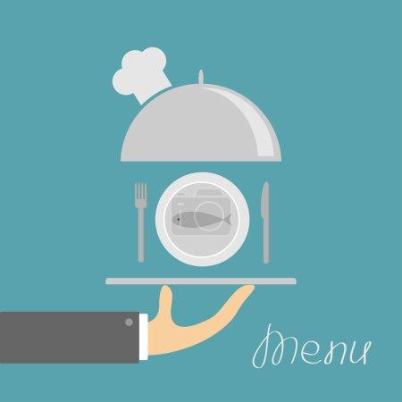 Illustration pour Main tenant cloche plateau d'argent avec chapeau de chefs et poisson plat, fourchette, couteau. Carte de menu. Fond bleu. Design plat. Illustration vectorielle - image libre de droit
