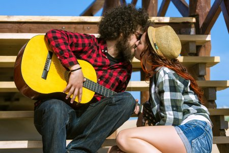Photo for Young couple kissing - Royalty Free Image